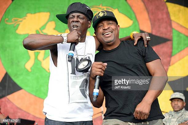 Chuck D and Flavor Flav of Public Enemy performs during the 2014 New Orleans Jazz Heritage Festival at Fair Grounds Race Course on April 25 2014 in...