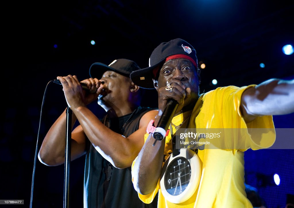 <a gi-track='captionPersonalityLinkClicked' href=/galleries/search?phrase=Chuck+D&family=editorial&specificpeople=212935 ng-click='$event.stopPropagation()'>Chuck D</a> and <a gi-track='captionPersonalityLinkClicked' href=/galleries/search?phrase=Flavor+Flav&family=editorial&specificpeople=171122 ng-click='$event.stopPropagation()'>Flavor Flav</a> of Public Enemy performs on stage during the 2011 Sunset Sounds music festival at the Brisbane Botanical Gardens and River Stage on January 5, 2011 in Brisbane, Australia.