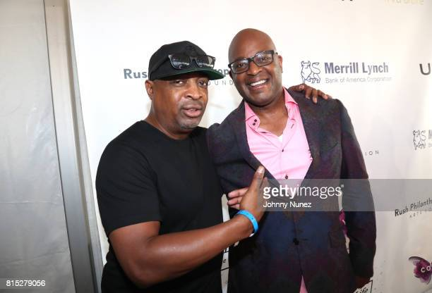 Chuck D and Frank Cooper III attend 2017 Rush Philanthropic Arts Foundation Art For Life Benefit at Fairview Farms on July 15 2017 in Water Mill New...