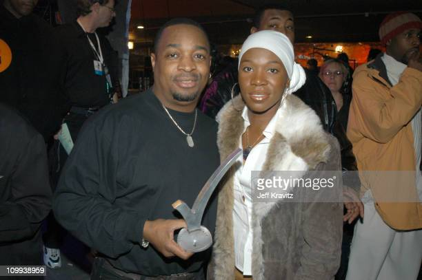 Chuck D and India Arie during MTV Rock The Vote 10th Annual Patrick Lippert Awards at Roseland Ballroom in New York NY United States
