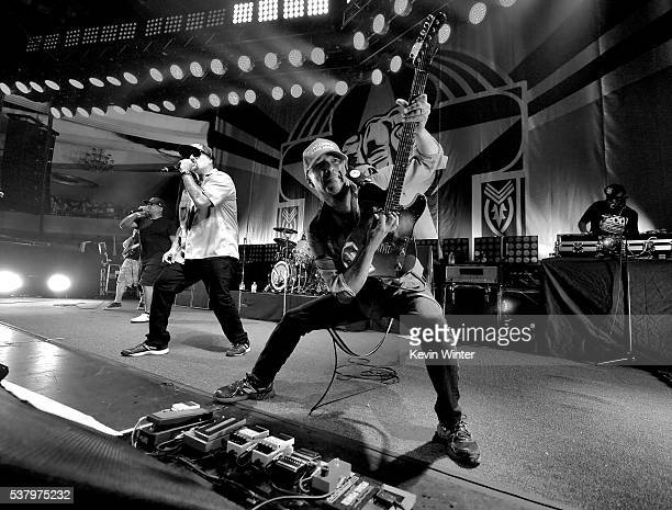 Chuck D BReal Tom Morello and DJ Lord of Prophets of Rage perform onstage at Hollywood Palladium on June 3 2016 in Los Angeles California