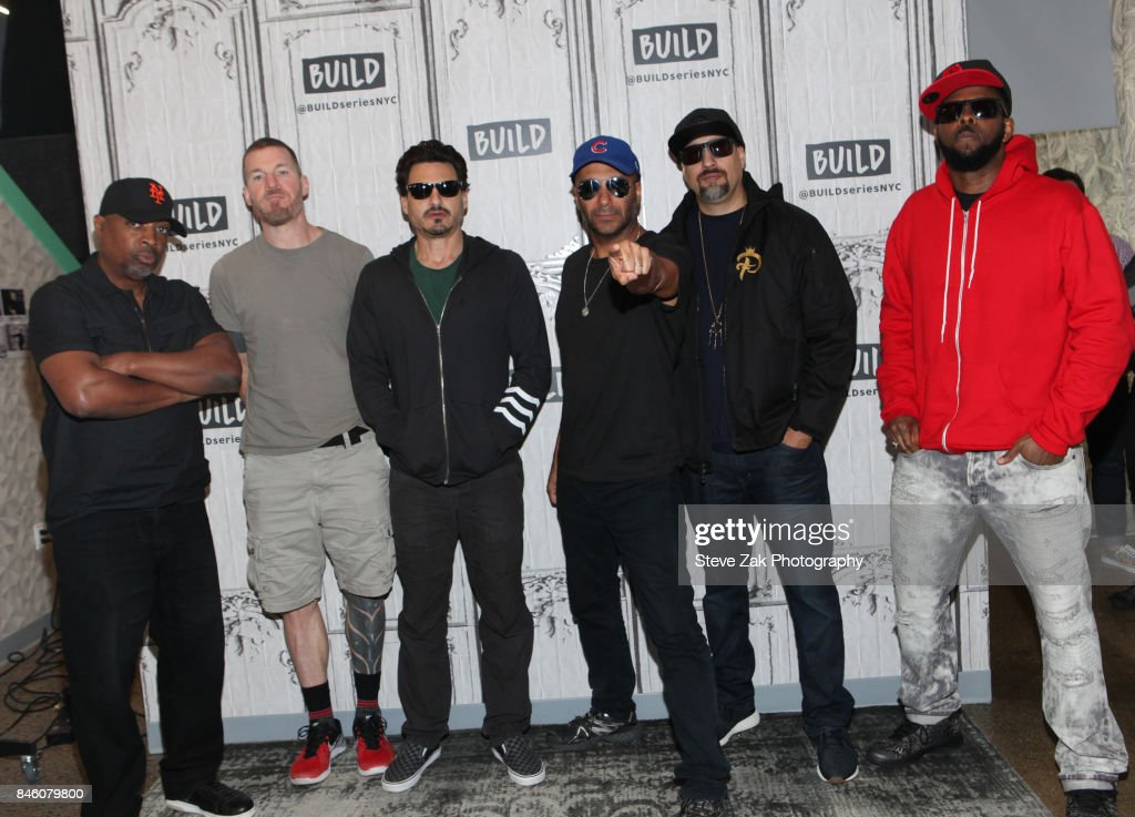 Chuck D, Tim Commerford, Brad Wilk, Tom Morello, B-Real and DJ Lord of Prophets of Rage attends Build Series to discuss 'Prophets of Rage' at Build Studio on September 12, 2017 in New York City.