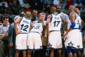 Chuck Daly head coach of the Orlando Magic talks with his team during a game played in 1998 at TD Waterhouse Arena in Orlando Florida NOTE TO USER...