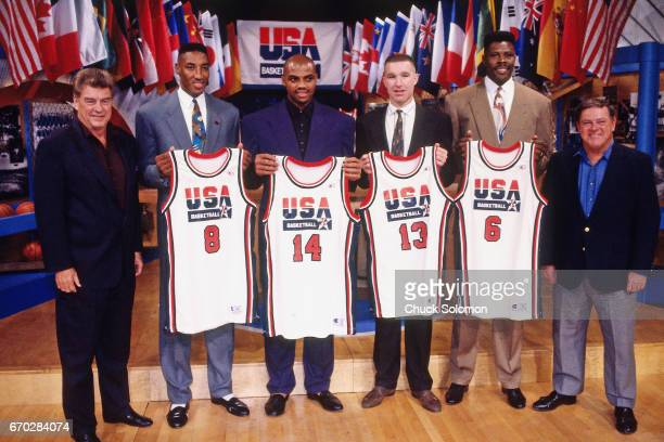 Chuck DalyScottie PippenCharles BarkleyChris Mullin and Patrick Ewing pose for a photo during the announcement of the 1992 USA Olympic basketball...