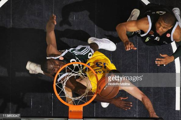Chuck Eidson #13 of Maccabi Electra Tel Aviv competes with Romain Sato #10 of Panathinaikos Athens during the Final Game of Turkish Airlines...