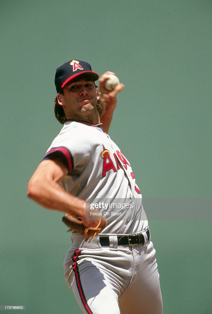 <a gi-track='captionPersonalityLinkClicked' href=/galleries/search?phrase=Chuck+Finley&family=editorial&specificpeople=242777 ng-click='$event.stopPropagation()'>Chuck Finley</a> #31 of California Angels pitches against the Boston Red Sox during an Major League Baseball game circa 1991 at Fenway Park in Boston, Massachusetts. Finley played for the Angels from 1986-99.