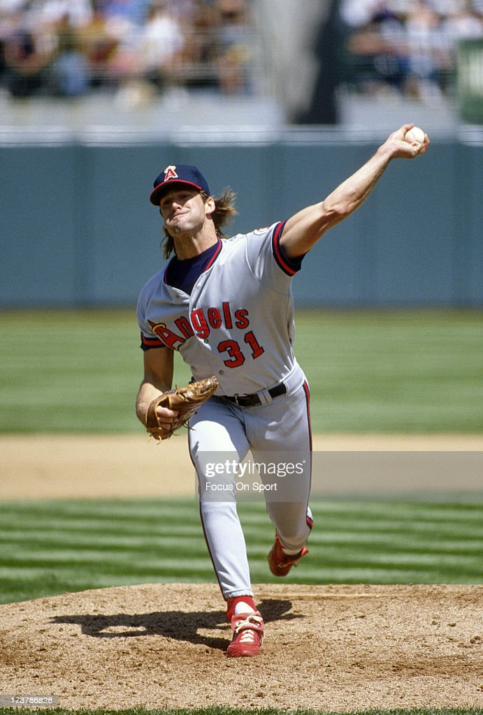 <a gi-track='captionPersonalityLinkClicked' href=/galleries/search?phrase=Chuck+Finley&family=editorial&specificpeople=242777 ng-click='$event.stopPropagation()'>Chuck Finley</a> #31 of California Angels pitches against the Oakland Athletics during an Major League Baseball game circa 1988 at the Oakland-Alameda County Coliseum in Oakland, California. Finley played for the Angels from 1986-99.