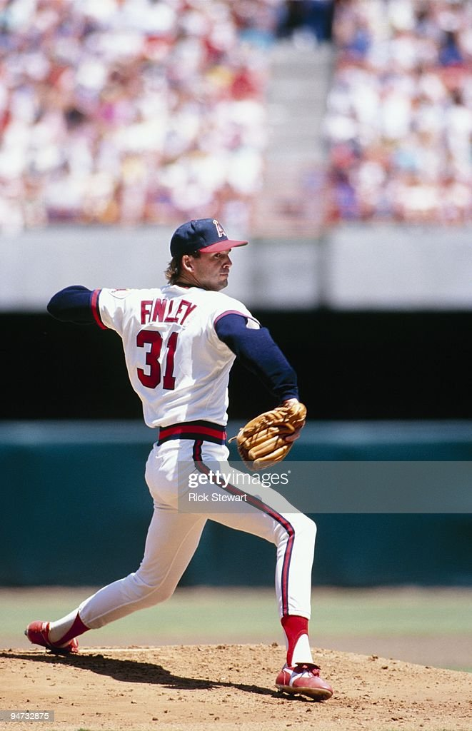 <a gi-track='captionPersonalityLinkClicked' href=/galleries/search?phrase=Chuck+Finley&family=editorial&specificpeople=242777 ng-click='$event.stopPropagation()'>Chuck Finley</a> #31 of the California Angels pitches during a game circa 1988 in Anaheim, California.