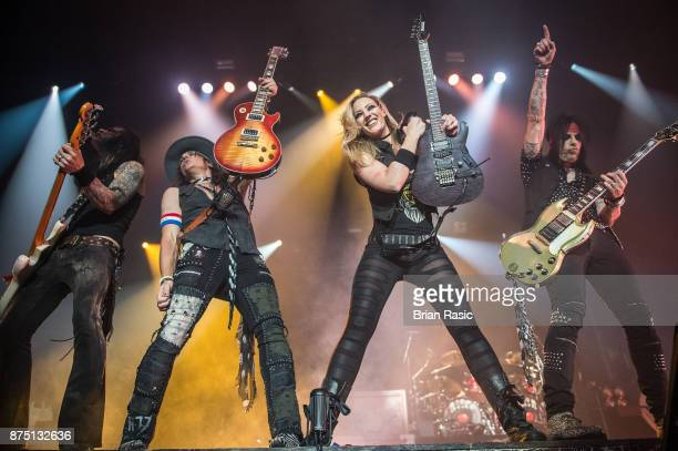 Chuck Garric Ryan Roxie Nita Strauss and Tommy Henriksen perform at Alice Cooper at Wembley Arena on November 16 2017 in London England