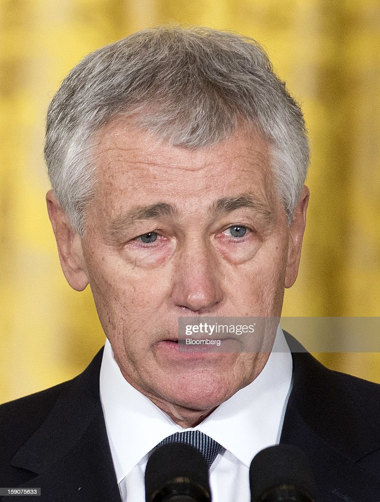<a gi-track='captionPersonalityLinkClicked' href=/galleries/search?phrase=Chuck+Hagel&family=editorial&specificpeople=504963 ng-click='$event.stopPropagation()'>Chuck Hagel</a>, a former Republican Senator from Nebraska, speaks during the announcement of his nomination for Secretary of Defense, in the East Room of the White House in Washington, D.C., U.S., on Monday, Jan. 7, 2013. U.S. President Barack Obama sees in Hagel a new Pentagon chief who, as a decorated Vietnam War veteran, can stand up to generals at a tight budgetary time and shares his doubts about open-ended military commitments. Photographer: Joshua Roberts/Bloomberg via Getty Images