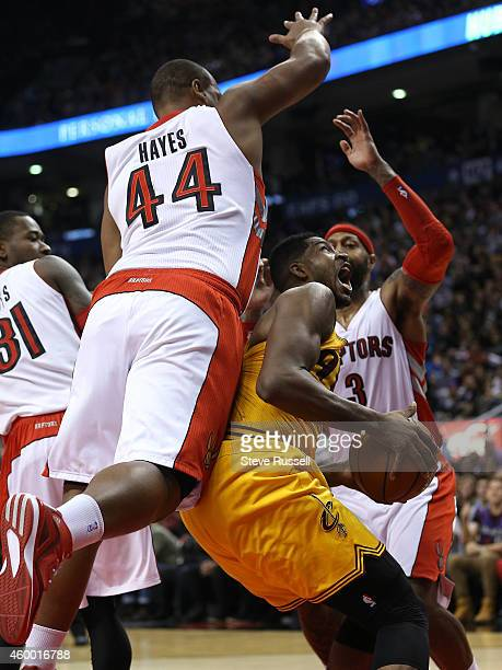 TORONTO ON DECEMBER 5 Chuck Hayes fouls Tristan Thompson as the Toronto Raptors lose to the Cleveland Cavaliers 10591 at the in Toronto December 5...