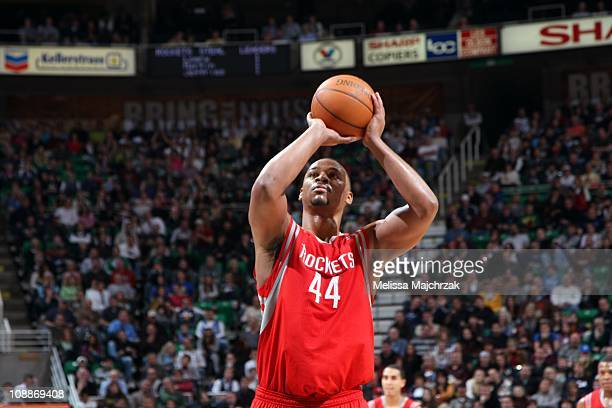 Chuck Hayes of the Houston Rockets prepares to shoot a free throw against the Utah Jazz during a game at the EnergySolutions Arena on February 02...