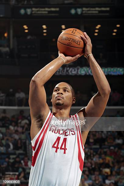 Chuck Hayes of the Houston Rockets prepares to shoot a free throw against the New Orleans Hornets during a game on February 27 2011 at the New...