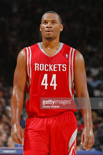 Chuck Hayes of the Houston Rockets stands on the court during the game against the Golden State Warriors on October 27 2010 at Oracle Arena in...