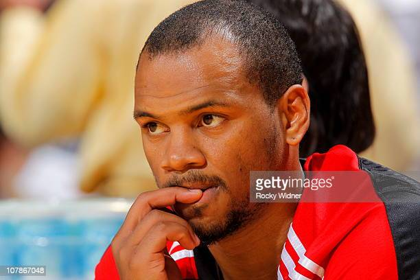 Chuck Hayes of the Houston Rockets watches the action from the sideline against the Golden State Warriors on December 20 2010 at Oracle Arena in...