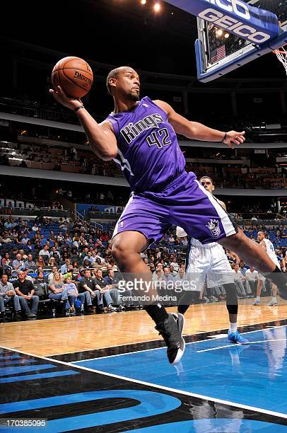 Chuck Hayes of the Sacramento Kings saves the ball from going out of bounce during the game against the Orlando Magic on February 27 2013 at Amway...