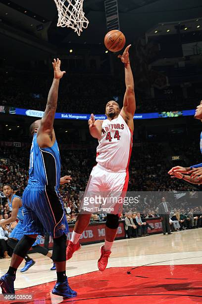 Chuck Hayes of the Toronto Raptors shoots against the Orlando Magic on January 29 2014 at the Air Canada Centre in Toronto Ontario Canada NOTE TO...