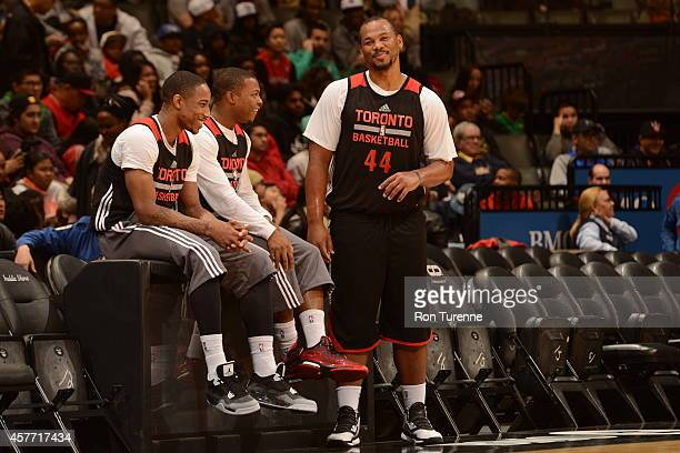 Chuck Hayes of the Toronto Raptors smiles during open practice on October 19 2014 at the Air Canada Centre in Toronto Ontario Canada NOTE TO USER...