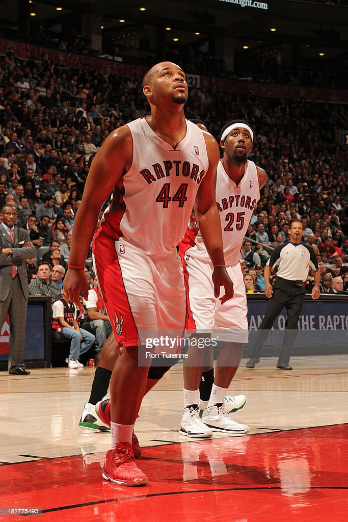 <a gi-track='captionPersonalityLinkClicked' href=/galleries/search?phrase=Chuck+Hayes&family=editorial&specificpeople=206129 ng-click='$event.stopPropagation()'>Chuck Hayes</a> #44 of the Toronto Raptors waits for a rebound during the game against the Boston Celtics on March 28, 2014 at the Air Canada Centre in Toronto, Ontario, Canada.