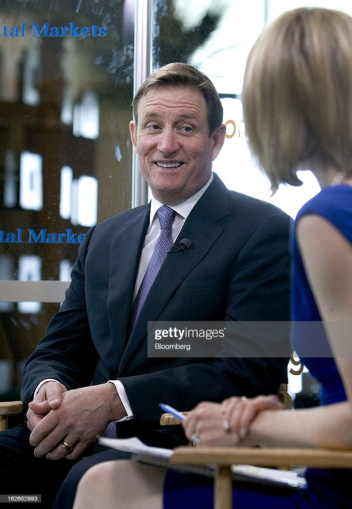 Chuck Jeannes, chief executive officer of Goldcorp Inc., speaks during a Bloomberg Television interview at the BMO Capital Global Metals and Mining Conference in Hollywood, Florida, U.S., on Monday, Feb. 25, 2013. Goldcorp Inc., the world's second-largest gold producer by market value, is looking for further acquisitions as many projects face higher-than-expected operating costs. Photographer: Joshua Prezant/Bloomberg via Getty Images