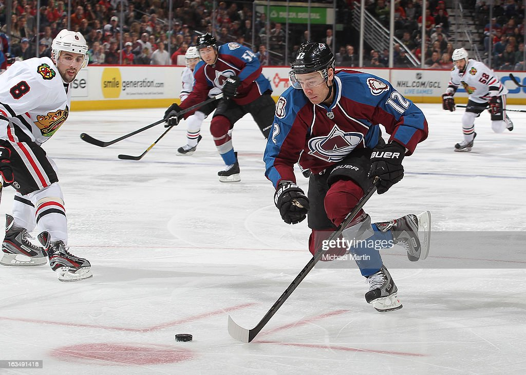 Chuck Kobasew of the Colorado Avalanche skates against the Chicago Blackhawks at the Pepsi Center on March 8 2013 in Denver Colorado The Avalanche...