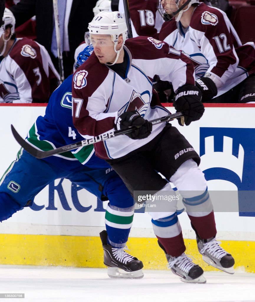 Chuck Kobasew of the Colorado Avalanche skates during NHL action against the Vancouver Canucks on December 06 2011 at Rogers Arena in Vancouver...