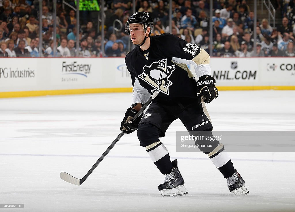Chuck Kobasew of the Pittsburgh Penguins skates against the Ottawa Senators on April 13 2014 at Consol Energy Center in Pittsburgh Pennsylvania