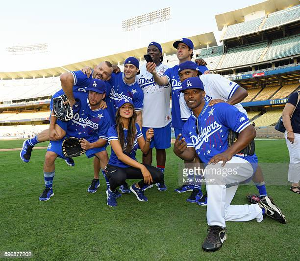 Chuck Liddell Dave Osokow Ryan Guzman Eiza Gonzalez Donovan Carter Troy Garity and Jamie Foxx attends the Hollywood Stars game at Dodger Stadium on...