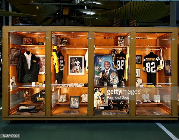 Chuck Noll Mike Webster Lynn Swann and John Stallworth lockers encased in the Pittsburgh Steelers 'Walk Of Fame' in the Great Hall concourse inside...