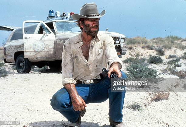 Chuck Norris a renegade Texas Ranger in a scene from the film 'Lone Wolf McQuade' 1983