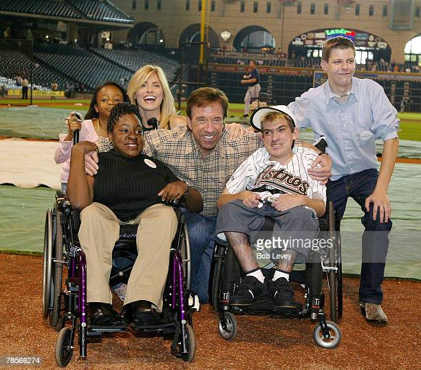 Chuck Norris and wife Gina pose with 4 children who requested to meet the action adventure star through the MakeAWish FoundationThe Houston Astros...