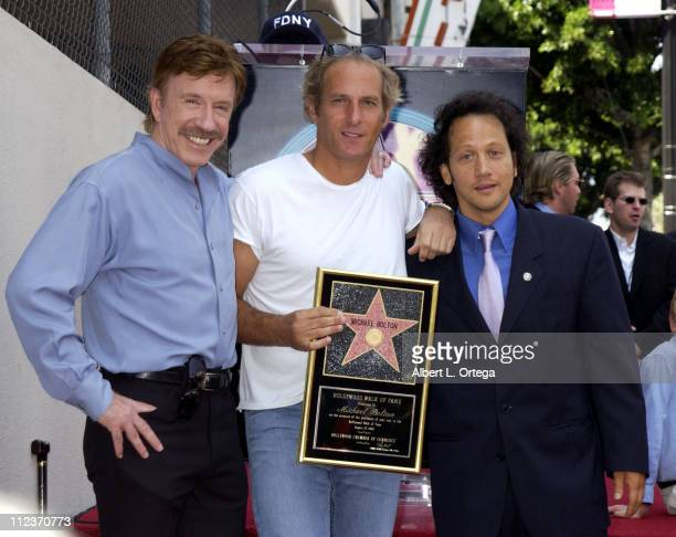 Chuck Norris Michael Bolton and Rob Schneider during Michael Bolton Honored with a Star on the Hollywood Walk of Fame for His Achievements in Music...