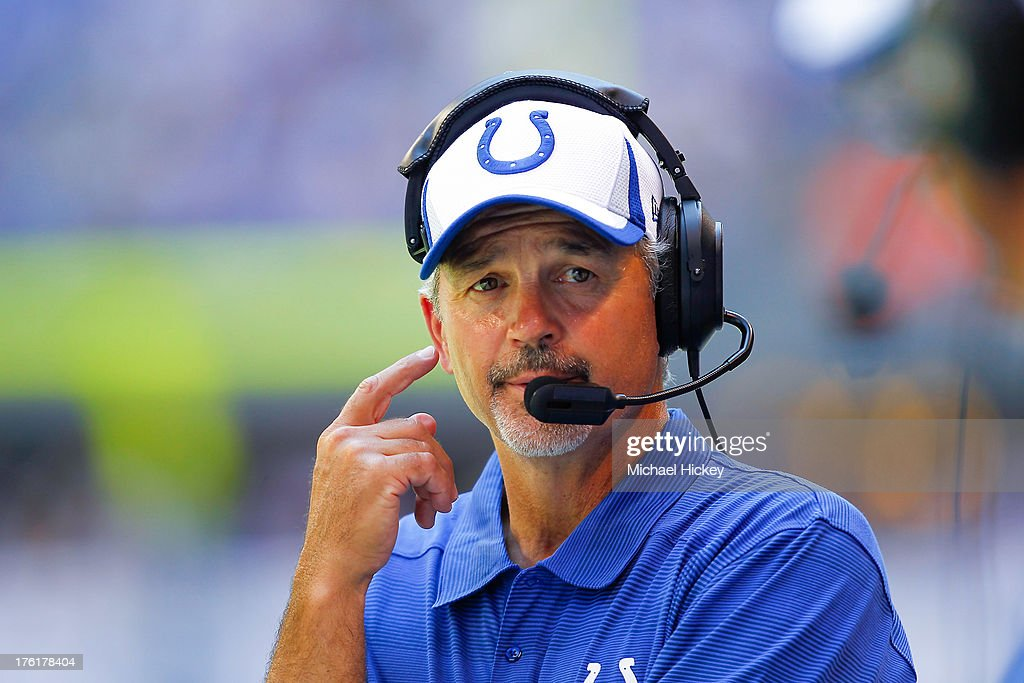 <a gi-track='captionPersonalityLinkClicked' href=/galleries/search?phrase=Chuck+Pagano&family=editorial&specificpeople=748923 ng-click='$event.stopPropagation()'>Chuck Pagano</a> head coach of the Indianapolis Colts seen on the sidelines against the Buffalo Bills at Lucas Oil Stadium on August 11, 2013 in Indianapolis, Indiana.