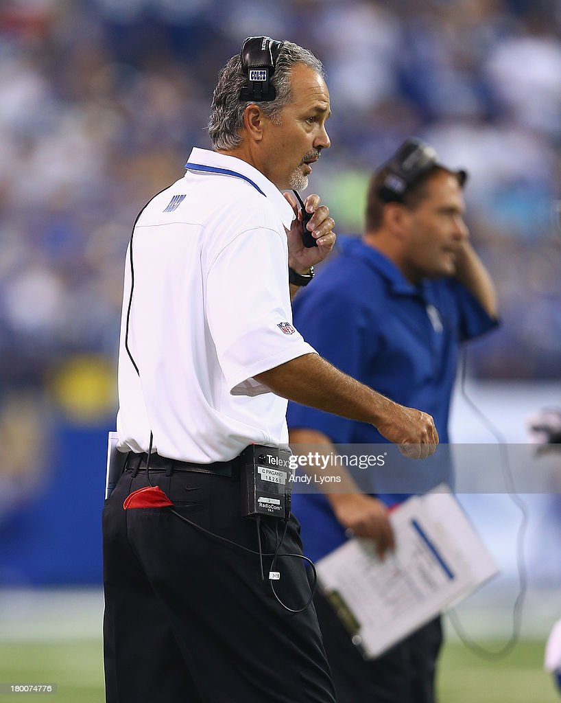 <a gi-track='captionPersonalityLinkClicked' href=/galleries/search?phrase=Chuck+Pagano&family=editorial&specificpeople=748923 ng-click='$event.stopPropagation()'>Chuck Pagano</a> the head coach of the Indianapolis Colts watches the game action during the Colts 21-17 win over the Oakland Raiders at Lucas Oil Stadium on September 8, 2013 in Indianapolis, Indiana.
