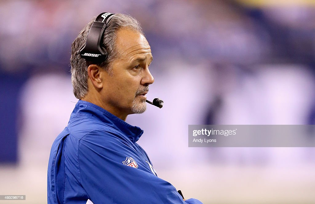 Chuck Pagano the head coach of the Indianapolis Colts watches the action during the game against the New England Patriots at Lucas Oil Stadium on...