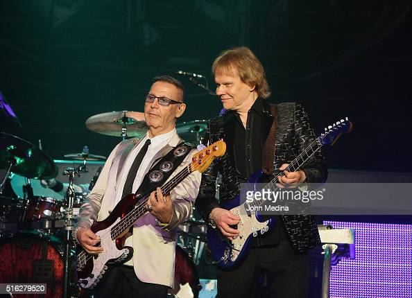 Chuck Panozzo and James Young of Styx perform at City National Civic on March 17 2016 in San Jose California