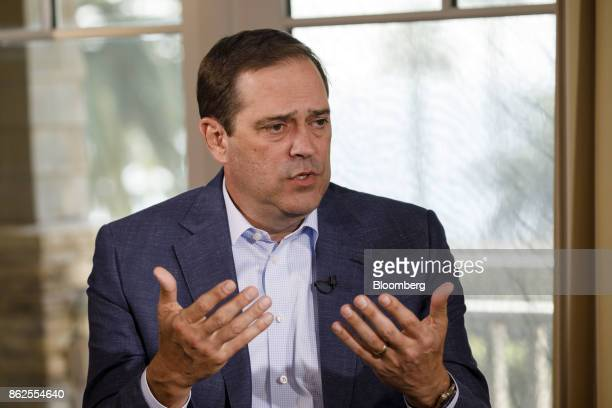 Chuck Robbins chief executive officer of Cisco Systems Inc speaks during a Bloomberg Television interview on the sidelines of the Wall Street Journal...