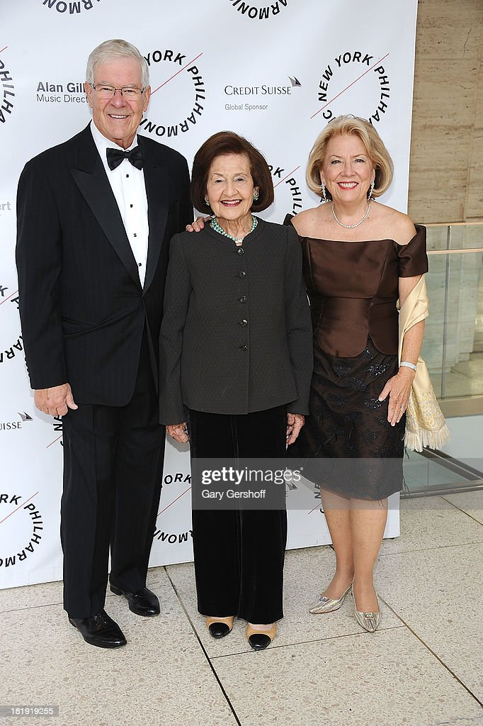 Chuck Schaefer, Elaine Petschek and Carol Schaefer attend New York Philharmonic 172nd Season Opening Night Gala at Avery Fisher Hall, Lincoln Center on September 25, 2013 in New York City.