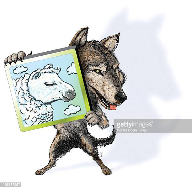 Chuck Todd illustration of wolf holding a tablet computer with a sheep's picture on it can be used with stories about apps that are 'a wolf in...