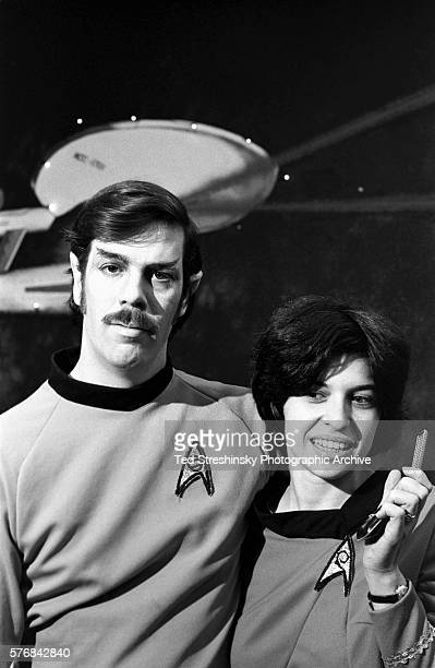 Chuck Weiss and Sandy Sarris are dressed like characters of the television show Star Trek inside a 'Trekkie' store in Berkeley California