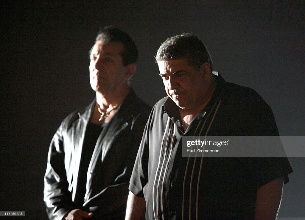 <a gi-track='captionPersonalityLinkClicked' href=/galleries/search?phrase=Chuck+Zito&family=editorial&specificpeople=785523 ng-click='$event.stopPropagation()'>Chuck Zito</a> and <a gi-track='captionPersonalityLinkClicked' href=/galleries/search?phrase=Vincent+Pastore&family=editorial&specificpeople=215270 ng-click='$event.stopPropagation()'>Vincent Pastore</a> on the set of the Eve to Adam 'Run Your Mouth' music video shoot at Streets of Brooklyn on June 26, 2011 in New York City.