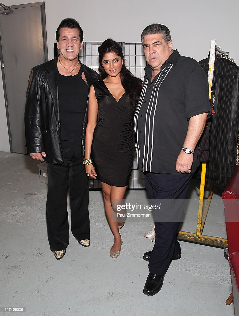 <a gi-track='captionPersonalityLinkClicked' href=/galleries/search?phrase=Chuck+Zito&family=editorial&specificpeople=785523 ng-click='$event.stopPropagation()'>Chuck Zito</a>, Kavita Kaushik and <a gi-track='captionPersonalityLinkClicked' href=/galleries/search?phrase=Vincent+Pastore&family=editorial&specificpeople=215270 ng-click='$event.stopPropagation()'>Vincent Pastore</a> on the set of the Eve to Adam 'Run Your Mouth' music video shoot on the streets of Brooklyn on June 26, 2011 in New York City.
