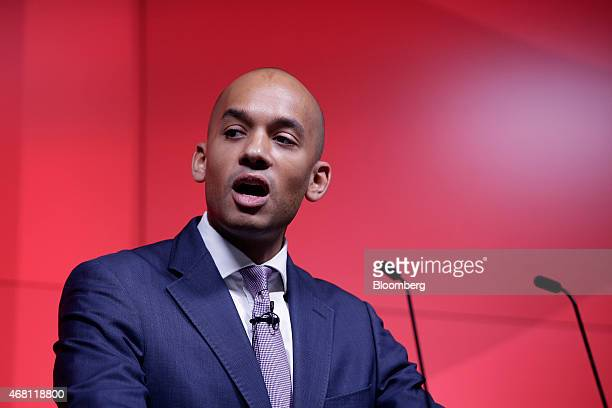 Chuka Umunna business spokesman for the UK opposition Labour Party gestures during his speech at Bloomberg LP's European headquarters in London UK on...