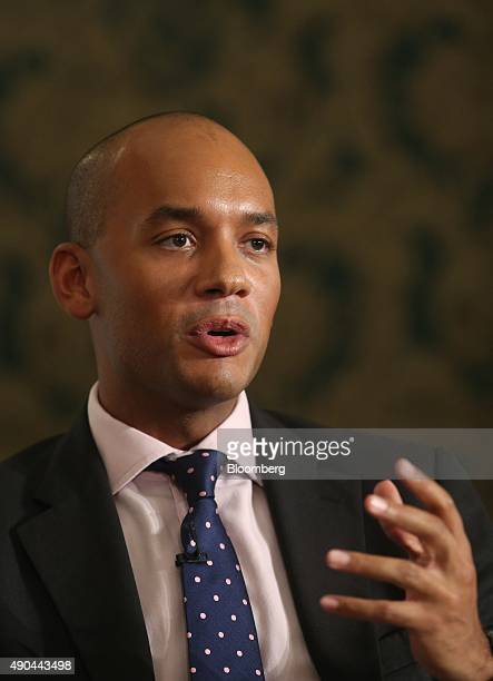 Chuka Umunna former business spokesman of the UK opposition Labour Party speaks during a debate on the fringes of the party's annual conference in...