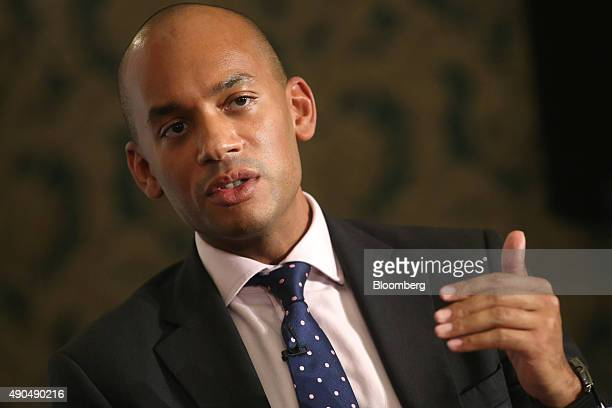 Chuka Umunna former business spokesman of the UK opposition Labour Party speaks during a debate on the fringes of the Labour party's annual...