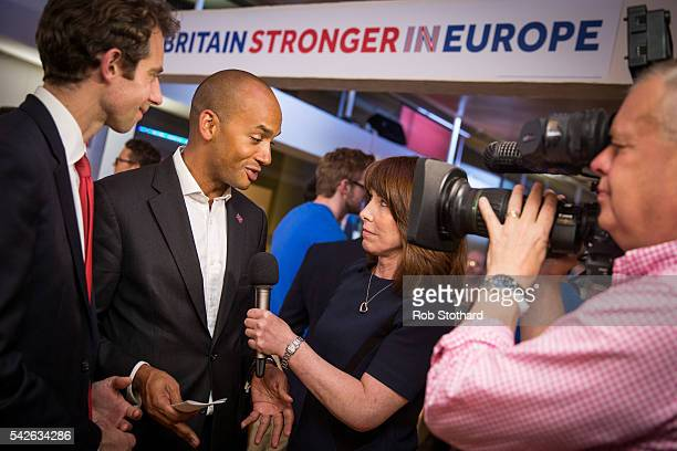 Chuka Umunna Member of Parliament for Streatham is interviewed as the Stronger In Campaign gathering to wait for the result of the EU referendum at...