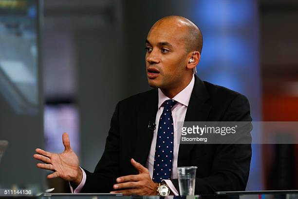Chuka Umunna UK lawmaker for the opposition Labour party gestures as he speaks during a Bloomberg Television interview in London UK on Thursday Feb...