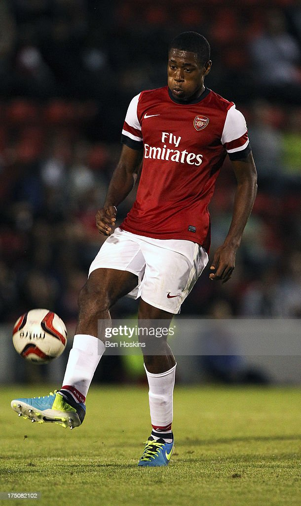 Chuks Akene of Arsenal in action during a pre season friendly match between Leyton Orient and an Arsenal XI at the Matchroom Stadium on July 30, 2013 in London, England.