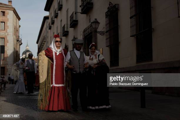 Chulapas take part in the San Isidro procession during the San Isidro festivities on May 15 2014 in Madrid Spain During the festivities in honor of...