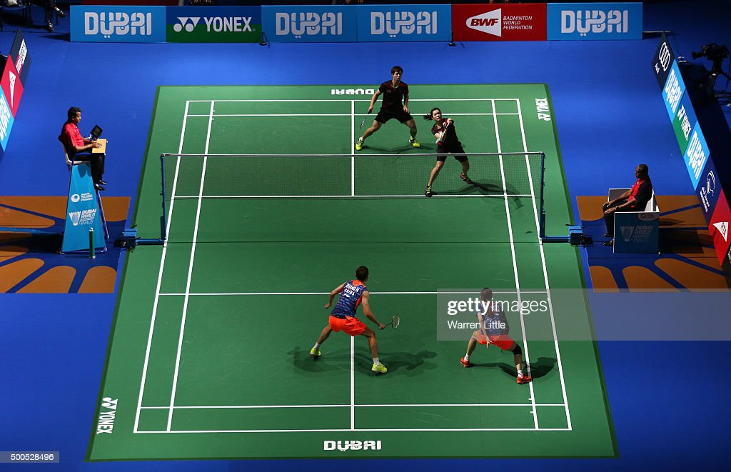 Chun Hei Reginald Lee and Hoi Wah Chau of Hong Kong in action in the mixed doubles match agianst Nan Zhang and Yulei Zhao of China during day one of the BWF Dubai World Superseries 2015 Finals at the Hamdan Sports Complex on on December 9, 2015 in Dubai, United Arab Emirates.